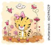 cute cartoon tiger on a meadow...   Shutterstock .eps vector #662496229