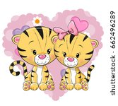 two cute tigers on a background ... | Shutterstock .eps vector #662496289