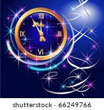 glowing background with clock... | Shutterstock . vector #66249766