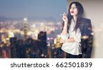 young fashion model smoking on... | Shutterstock . vector #662501839