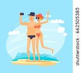 guy and girl do sel fie on the... | Shutterstock .eps vector #662505385