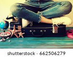 summer travel and vacation... | Shutterstock . vector #662506279