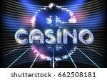 jackpot casino neon lettering... | Shutterstock .eps vector #662508181