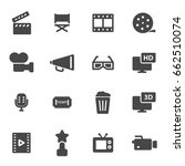 vector black movie icons set on ... | Shutterstock .eps vector #662510074