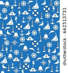 nautical sailing pattern | Shutterstock .eps vector #662513731