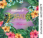 tropical vector floral summer... | Shutterstock .eps vector #662518879