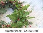 Wreath With Fresh Ferns On A...