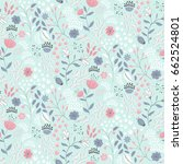 delicate ditsy floral print.... | Shutterstock .eps vector #662524801