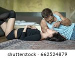 gorgeous couple lies on the...   Shutterstock . vector #662524879