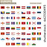 postage stamp with europe flags.... | Shutterstock .eps vector #662530495