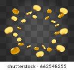 realistic gold coins explosion. ... | Shutterstock .eps vector #662548255