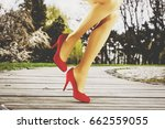 woman legs and sexy heels on... | Shutterstock . vector #662559055