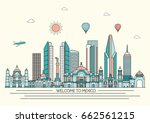 mexico detailed skyline. travel ... | Shutterstock .eps vector #662561215