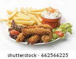 chicken strips with fries and...   Shutterstock . vector #662566225