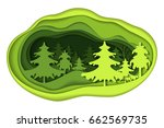 paper art carving of forest... | Shutterstock .eps vector #662569735