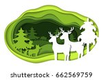 paper art carving with green... | Shutterstock .eps vector #662569759