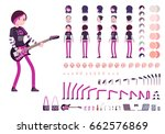 emo girl character creation set ... | Shutterstock .eps vector #662576869