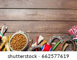 pet accessories  food  toy. top ... | Shutterstock . vector #662577619