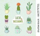 set of a succulent. small... | Shutterstock .eps vector #662579701