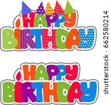 colorful lettering happy...   Shutterstock .eps vector #662580214