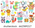 Stock vector animals hand drawn style summer set calligraphy and other elements vector illustration 662589217