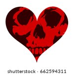 skull inside heart shape... | Shutterstock .eps vector #662594311