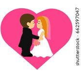 bride and groom  cartoon.... | Shutterstock .eps vector #662597047