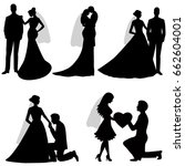 the bride and groom. set.... | Shutterstock .eps vector #662604001