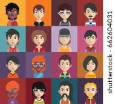 set of people avatars with faces | Shutterstock .eps vector #662604031