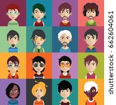 set of people avatars with faces | Shutterstock .eps vector #662604061