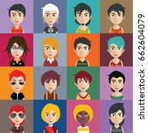 set of people avatars with faces | Shutterstock .eps vector #662604079