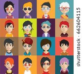set of people avatars with faces | Shutterstock .eps vector #662604115