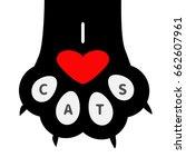 I Love Cats Text. Big Black Pa...