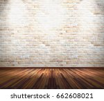 empty old white brick wall with ... | Shutterstock . vector #662608021