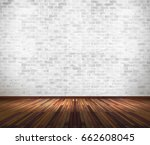 empty old white brick wall with ... | Shutterstock . vector #662608045