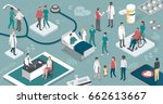 doctors and nurses taking care... | Shutterstock .eps vector #662613667