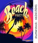 beach party poster template... | Shutterstock .eps vector #662615041