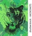 grunge tiger under leaves.... | Shutterstock .eps vector #662626651