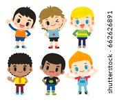 vector set of cute boys... | Shutterstock .eps vector #662626891