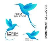 modern set . blue bird  colibri ... | Shutterstock .eps vector #662627911