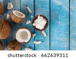 close up of a coconut oil on... | Shutterstock . vector #662639311