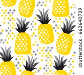 pineapple texture with hand... | Shutterstock .eps vector #662640739