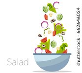 cooking salad with bowl and... | Shutterstock .eps vector #662646034