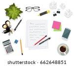 writing on paper sheet  ... | Shutterstock .eps vector #662648851