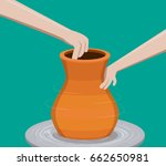 potter making a pottery  vector  | Shutterstock .eps vector #662650981