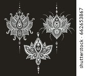 hand drawn lotus flower set in... | Shutterstock . vector #662653867