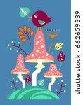 fly agarics mushrooms. children'... | Shutterstock .eps vector #662659339