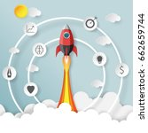 rocket launch.with start up... | Shutterstock .eps vector #662659744