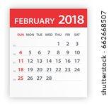 february 2018 calendar leaf  ... | Shutterstock .eps vector #662668507