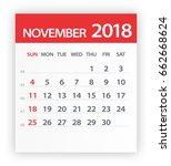 november 2018 calendar leaf  ... | Shutterstock .eps vector #662668624